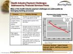 health industry payment challenges addressed by financial services firms