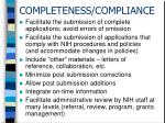 completeness compliance