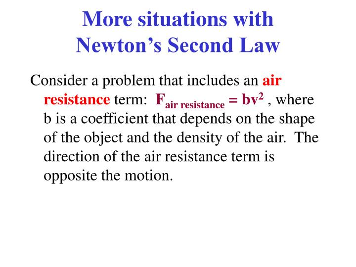 More situations with newton s second law