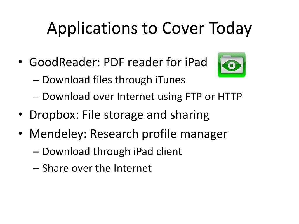 Applications to Cover Today
