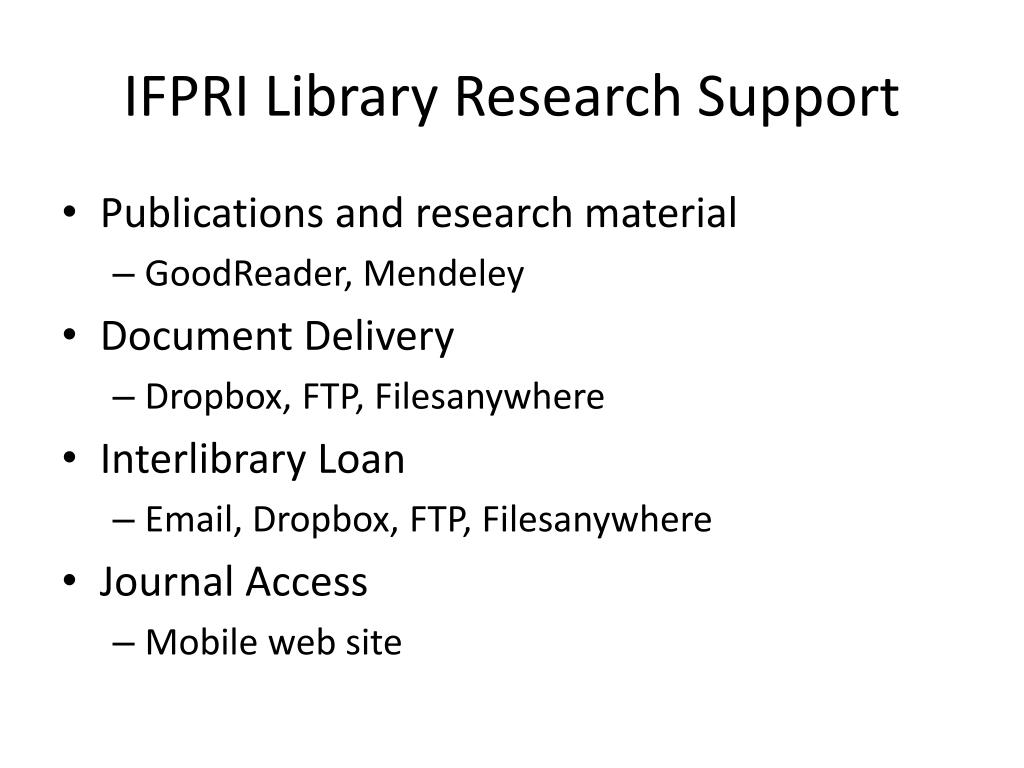IFPRI Library Research Support