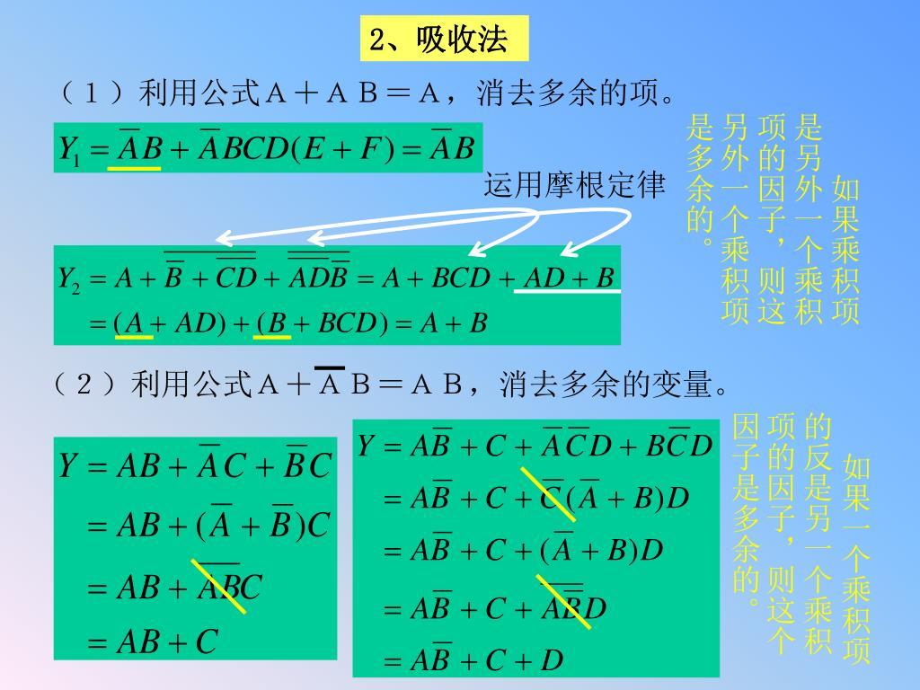 (2)利用公式A+AB=AB,消去多余的变量。