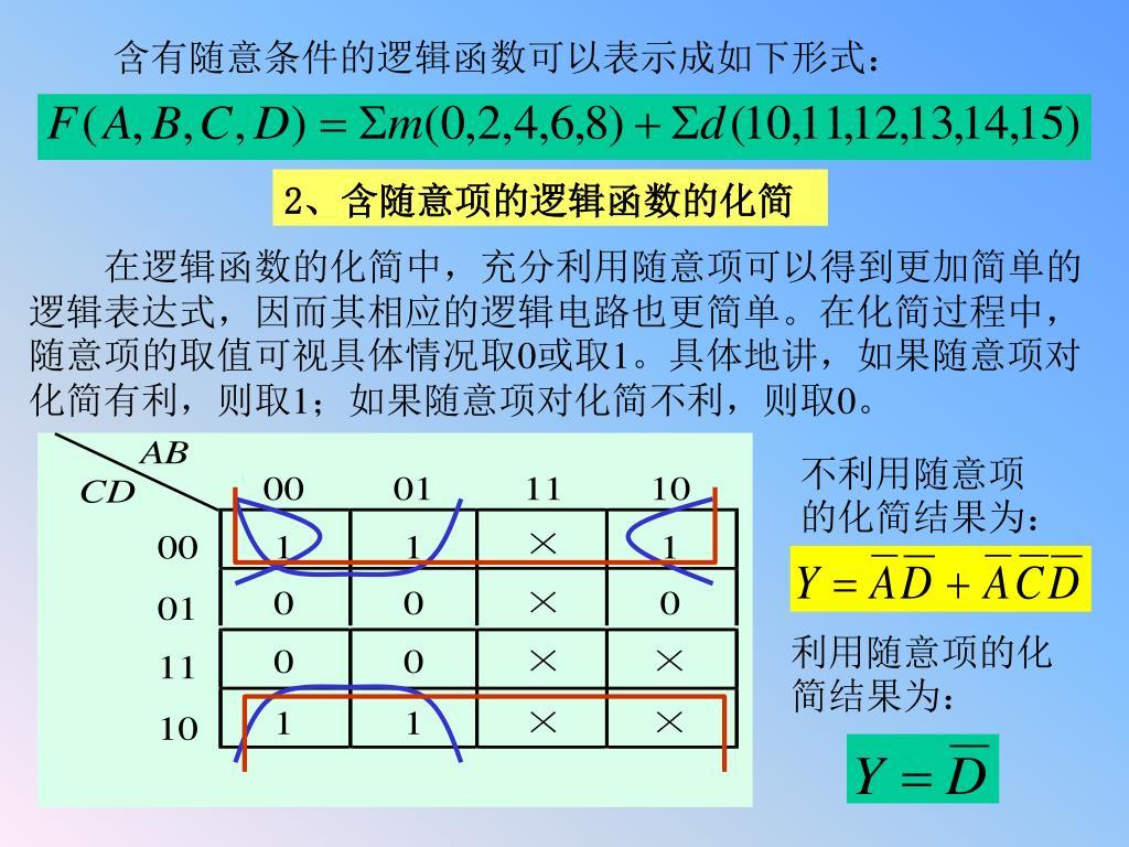 含有随意条件的逻辑函数可以表示成如下形式: