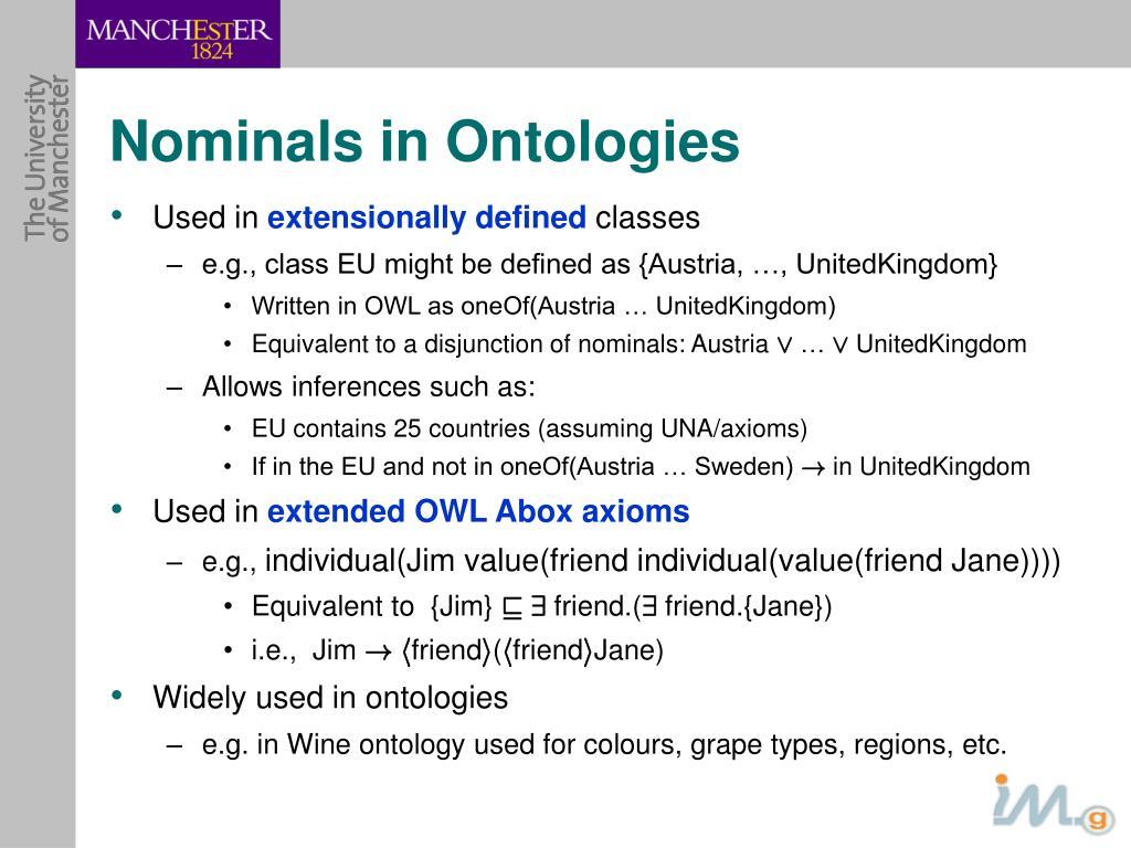 Nominals in Ontologies