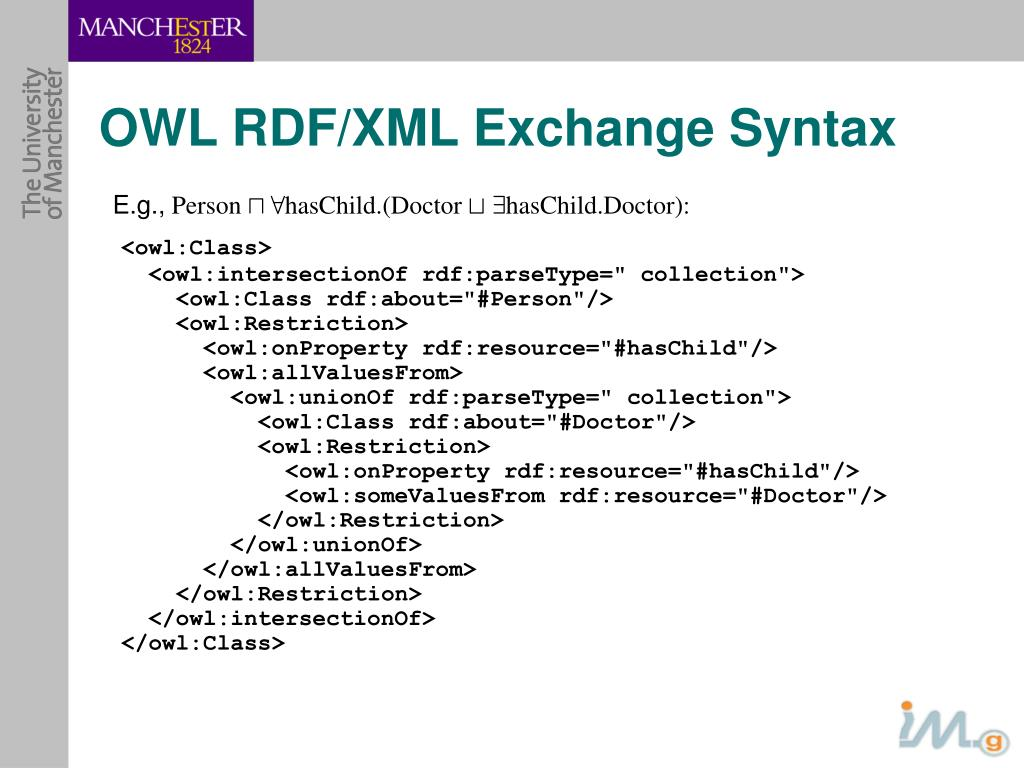 OWL RDF/XML Exchange Syntax