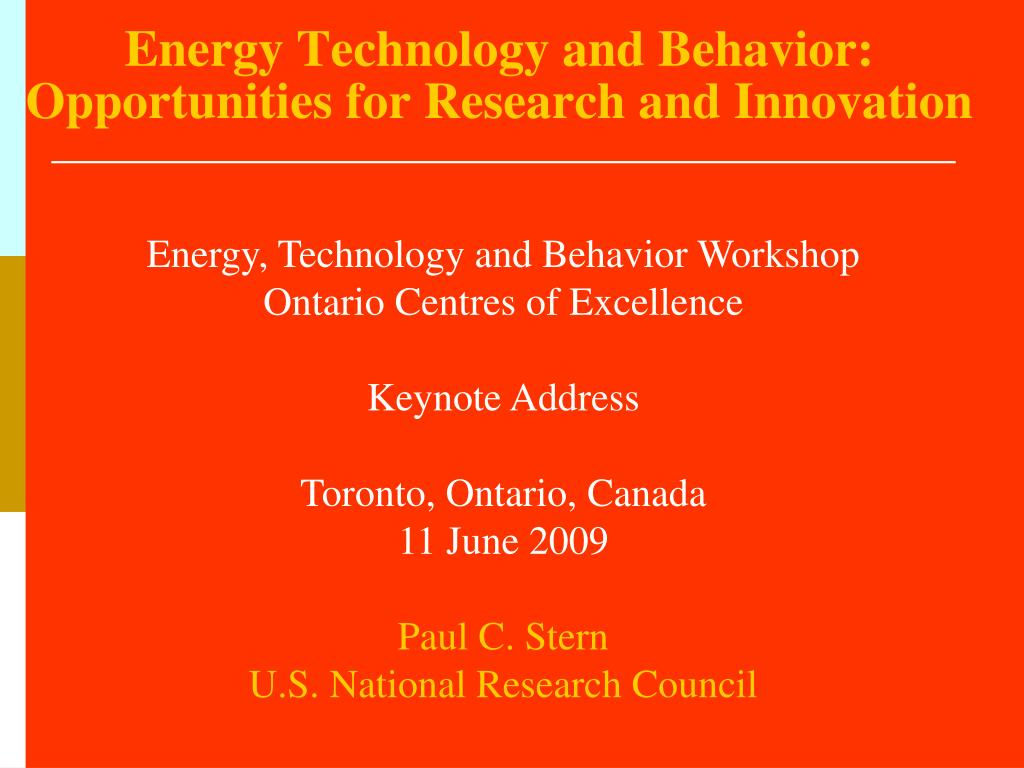 energy technology and behavior opportunities for research and innovation l.