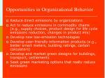 opportunities in organizational behavior