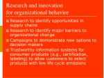 research and innovation for organizational behavior