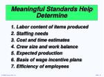 meaningful standards help determine
