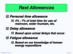 rest allowances