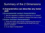 summary of the 2 dimensions
