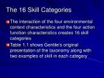 the 16 skill categories