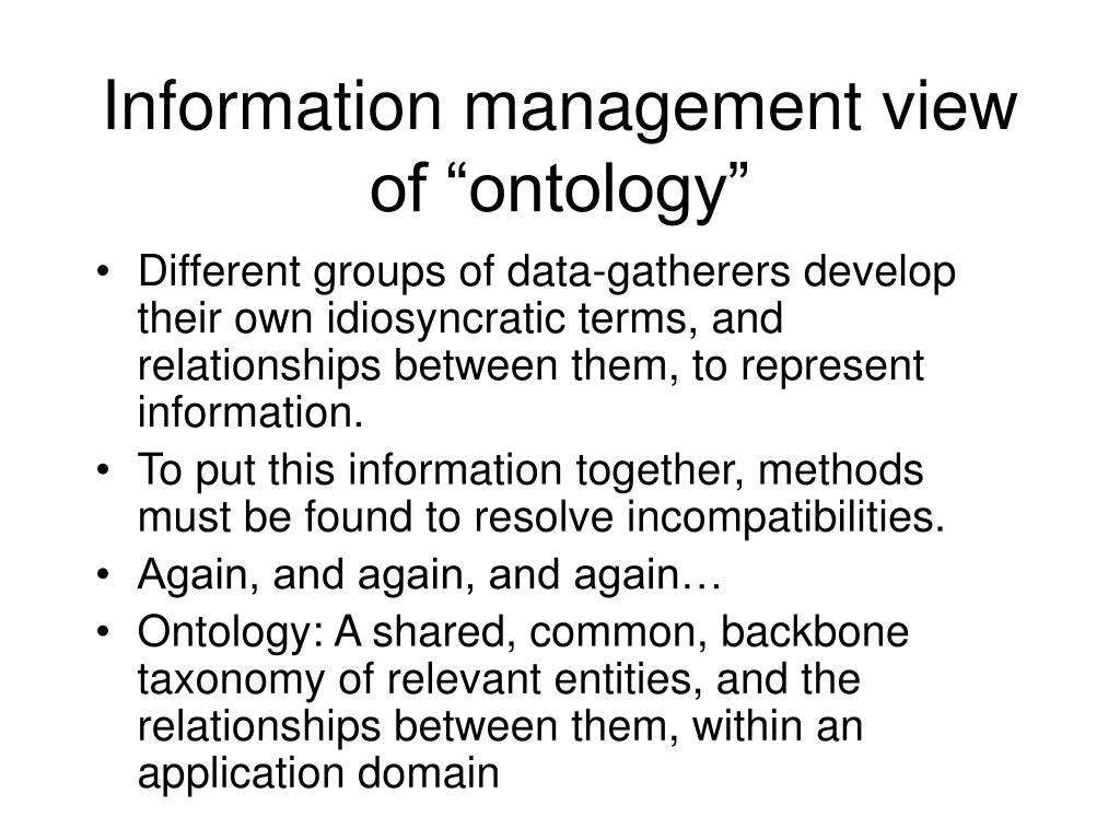 """Information management view of """"ontology"""""""