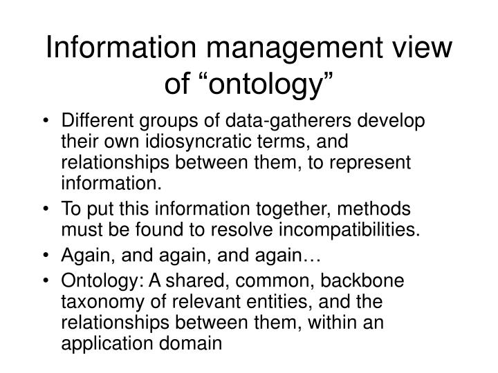 Information management view of ontology