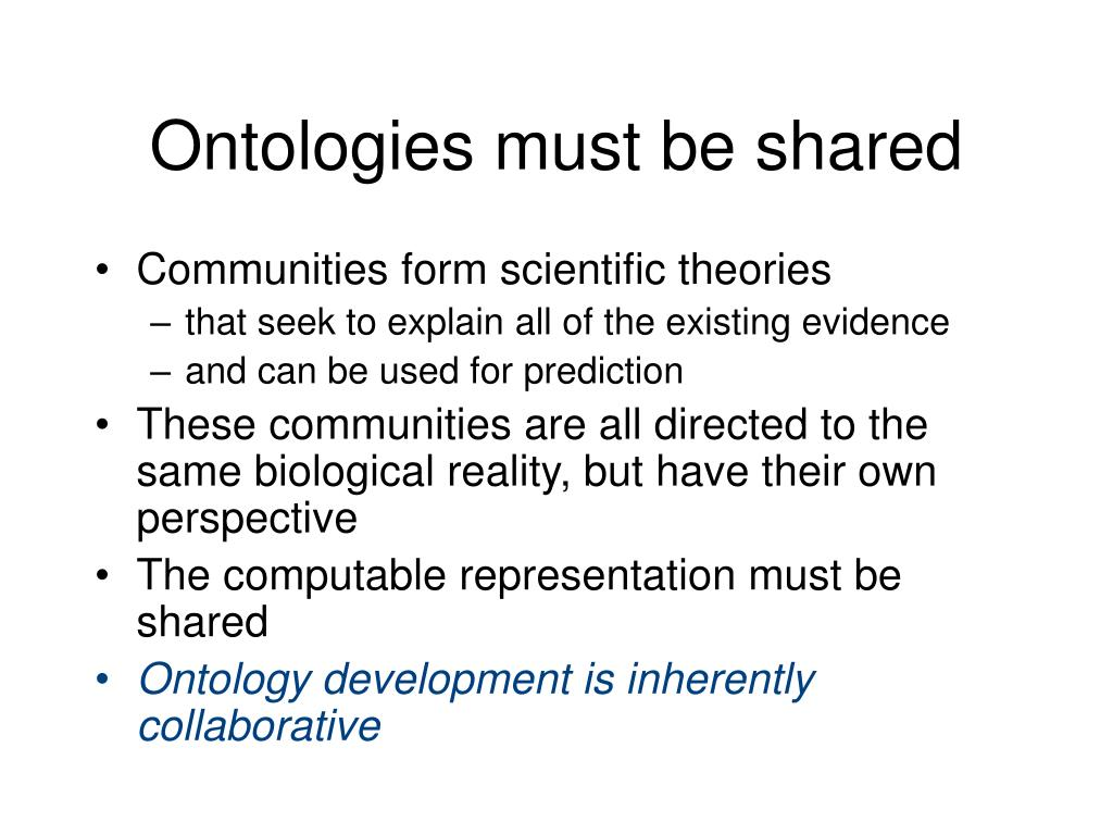 Ontologies must be shared