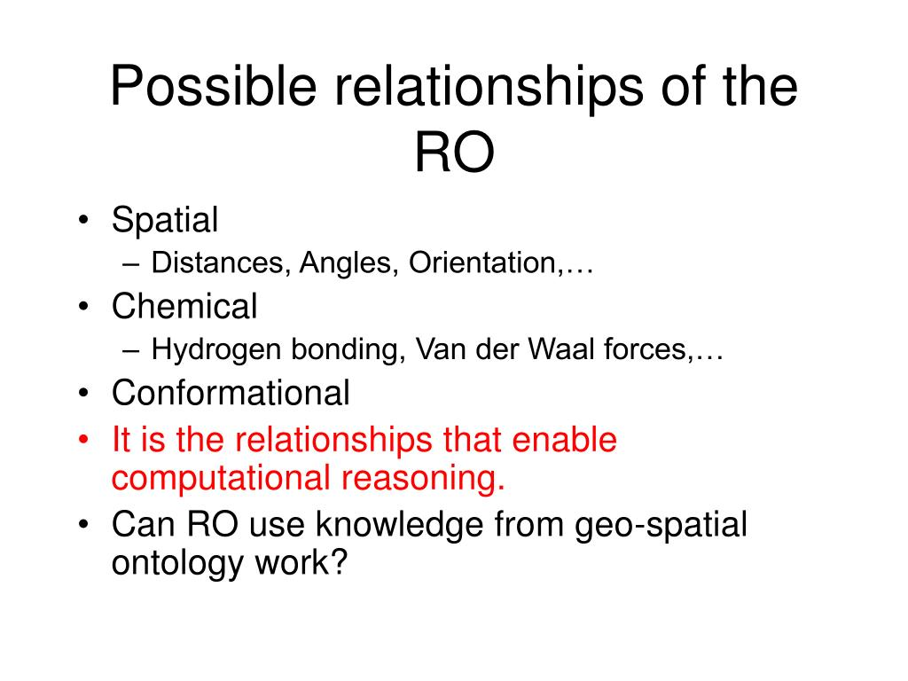 Possible relationships of the RO