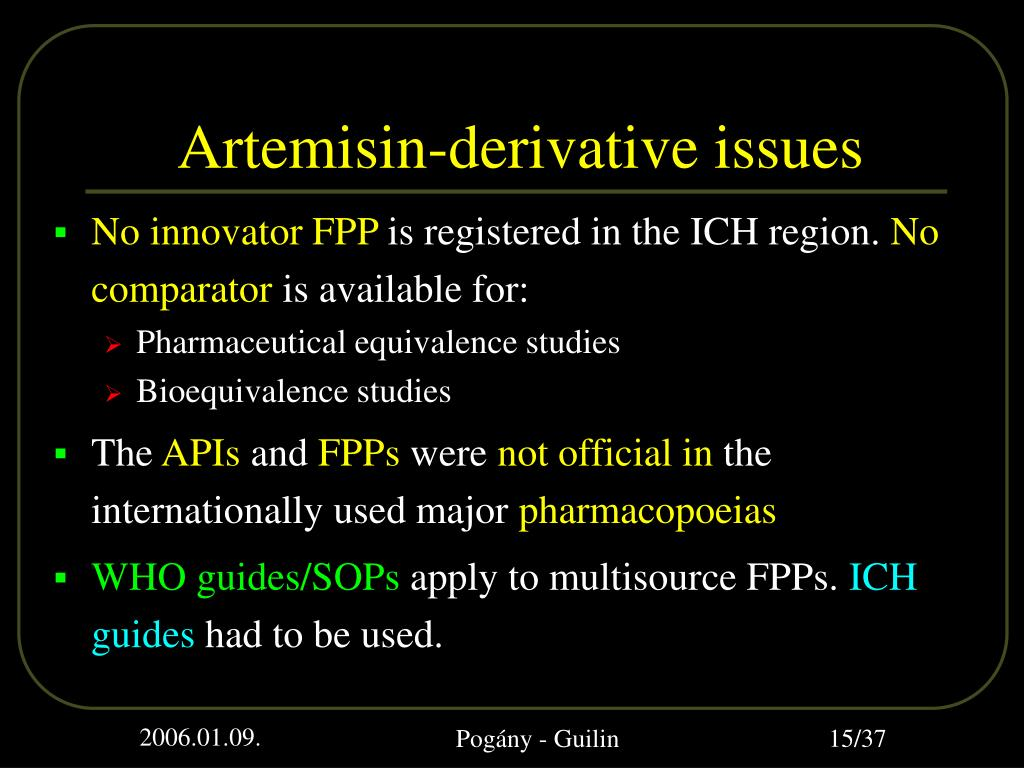 Artemisin-derivative issues