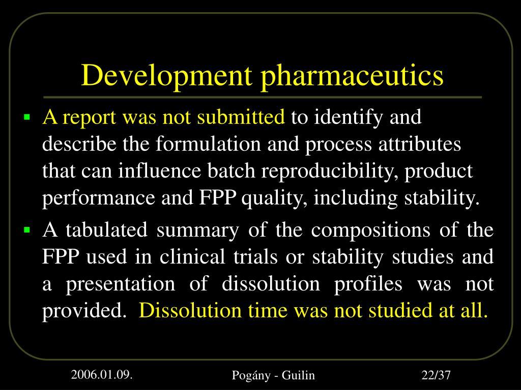 Development pharmaceutics