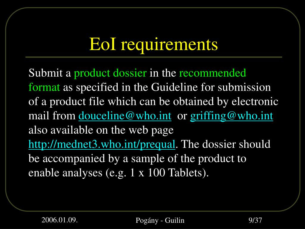 EoI requirements