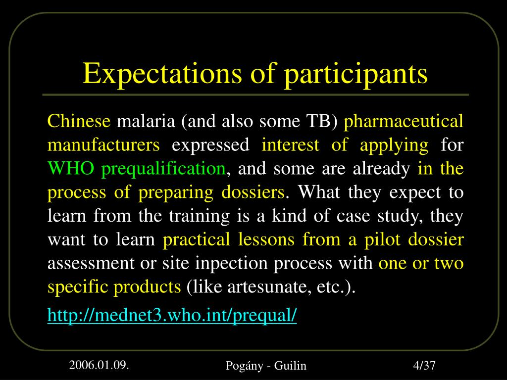 Expectations of participants