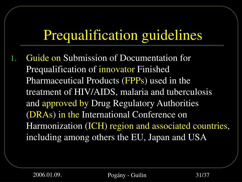 Prequalification guidelines