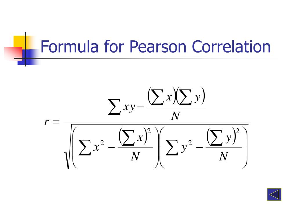 Formula for Pearson Correlation