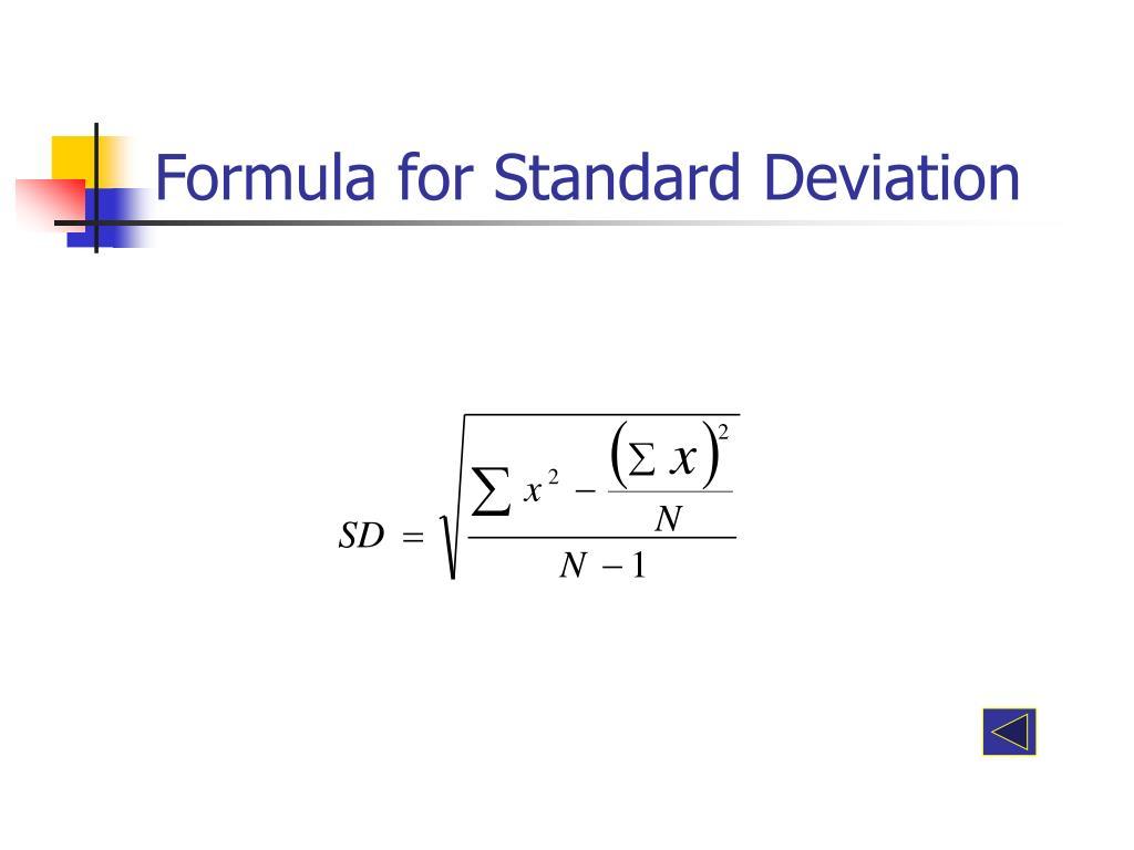 Formula for Standard Deviation