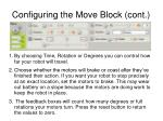 configuring the move block cont
