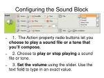 configuring the sound block