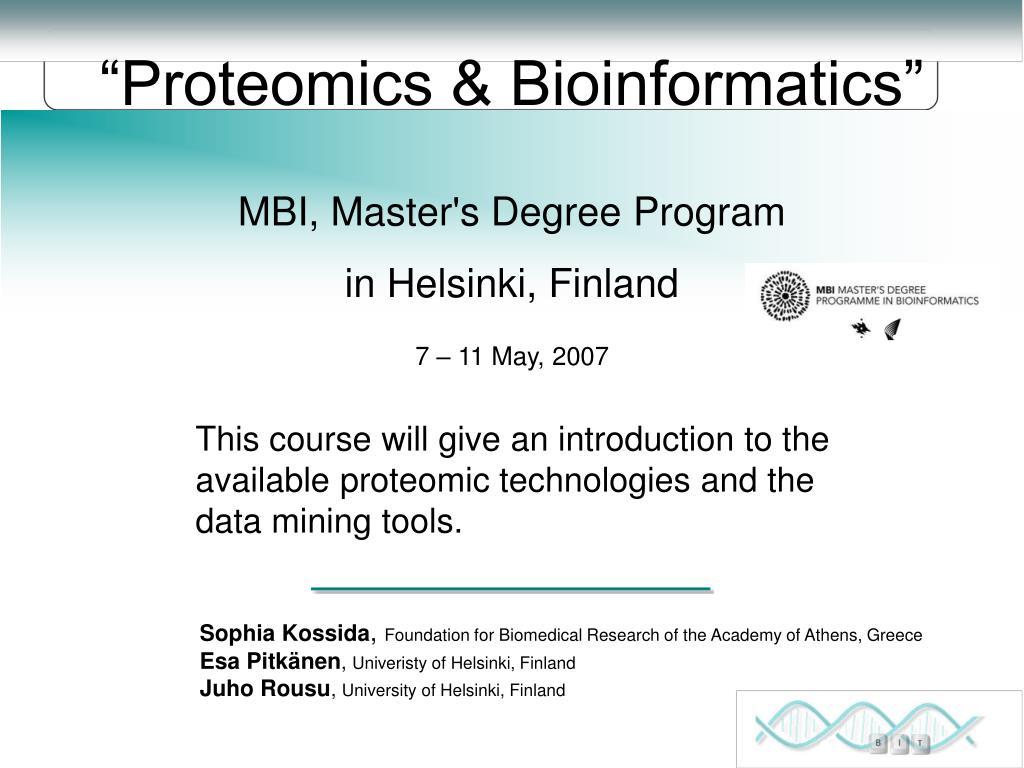 proteomics bioinformatics l.