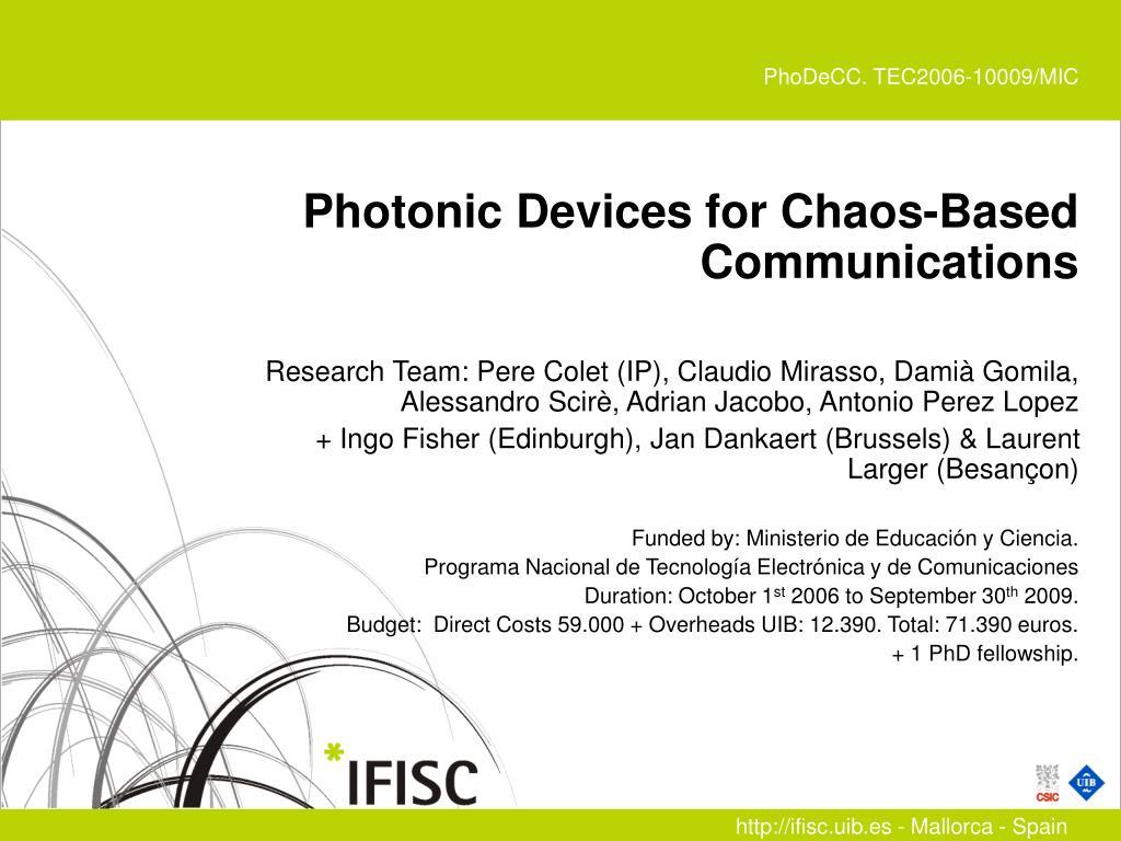 PhoDeCC. TEC2006-10009/MIC