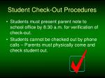 student check out procedures