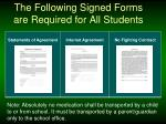 the following signed forms are required for all students