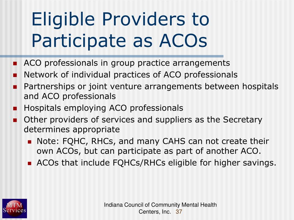 Eligible Providers to Participate as ACOs