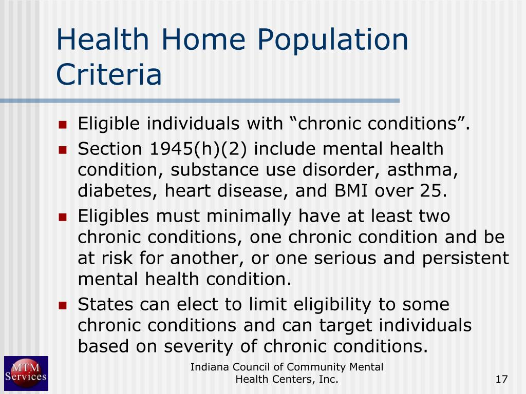 Health Home Population Criteria