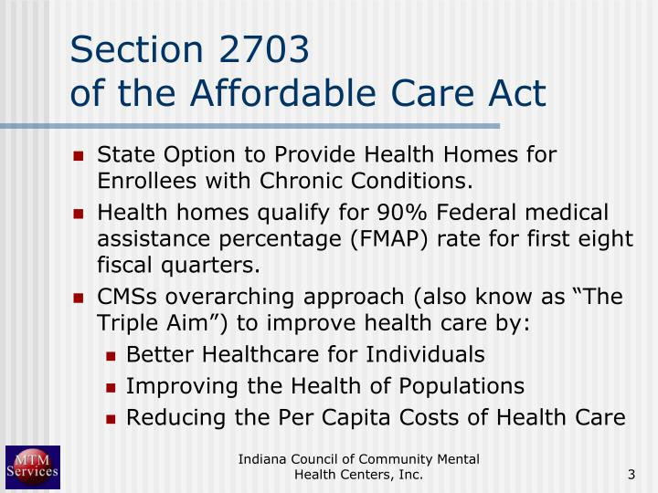 Section 2703 of the affordable care act