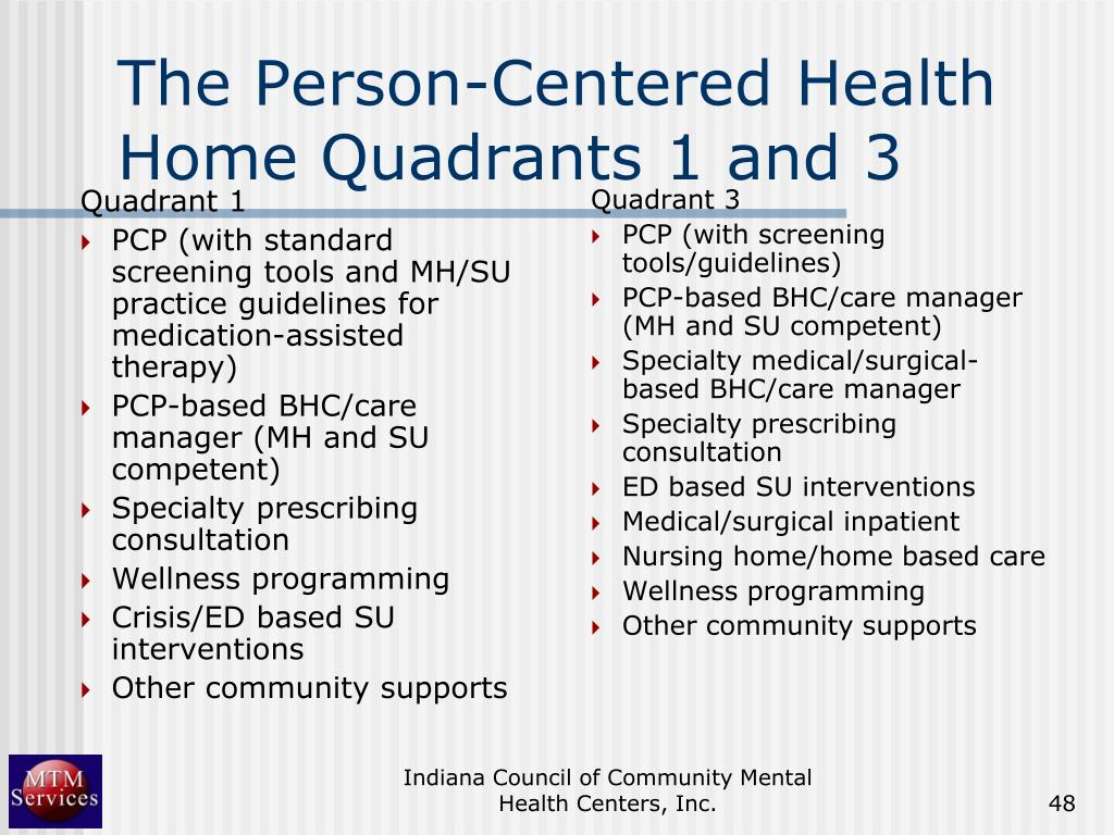 The Person-Centered Health Home Quadrants 1 and 3