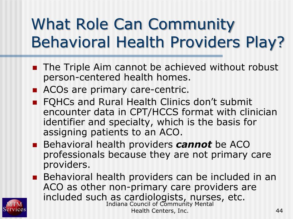 What Role Can Community Behavioral Health Providers Play?