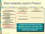 raw materials used in product