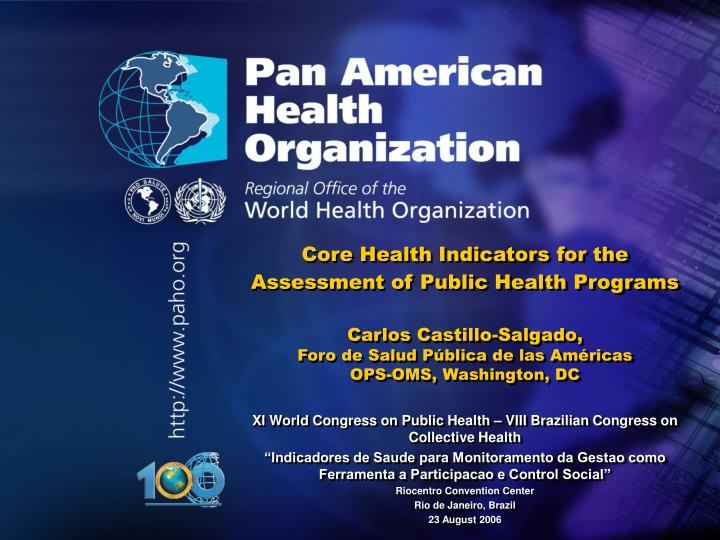 Core Health Indicators for the Assessment of Public Health Programs