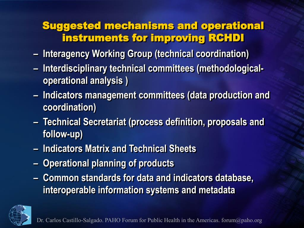Suggested mechanisms and operational instruments for improving RCHDI