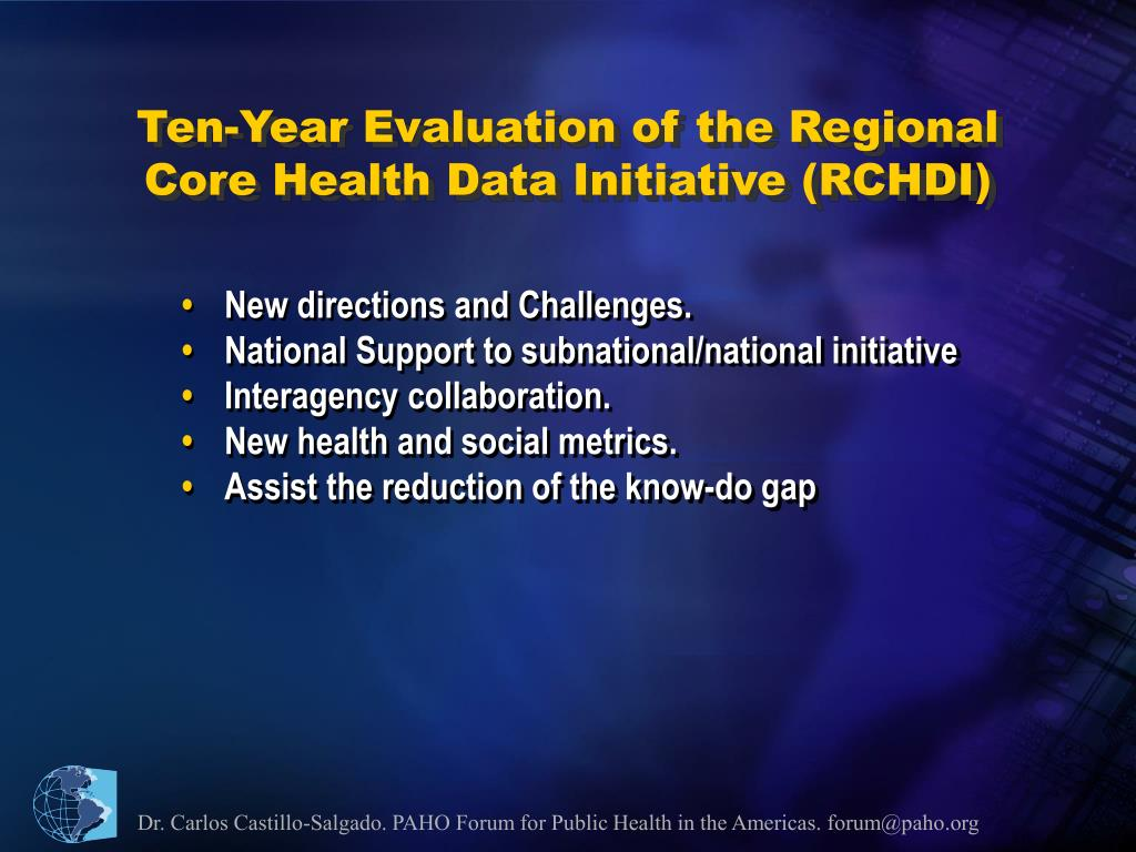 Ten-Year Evaluation of the Regional Core Health Data Initiative (RCHDI)