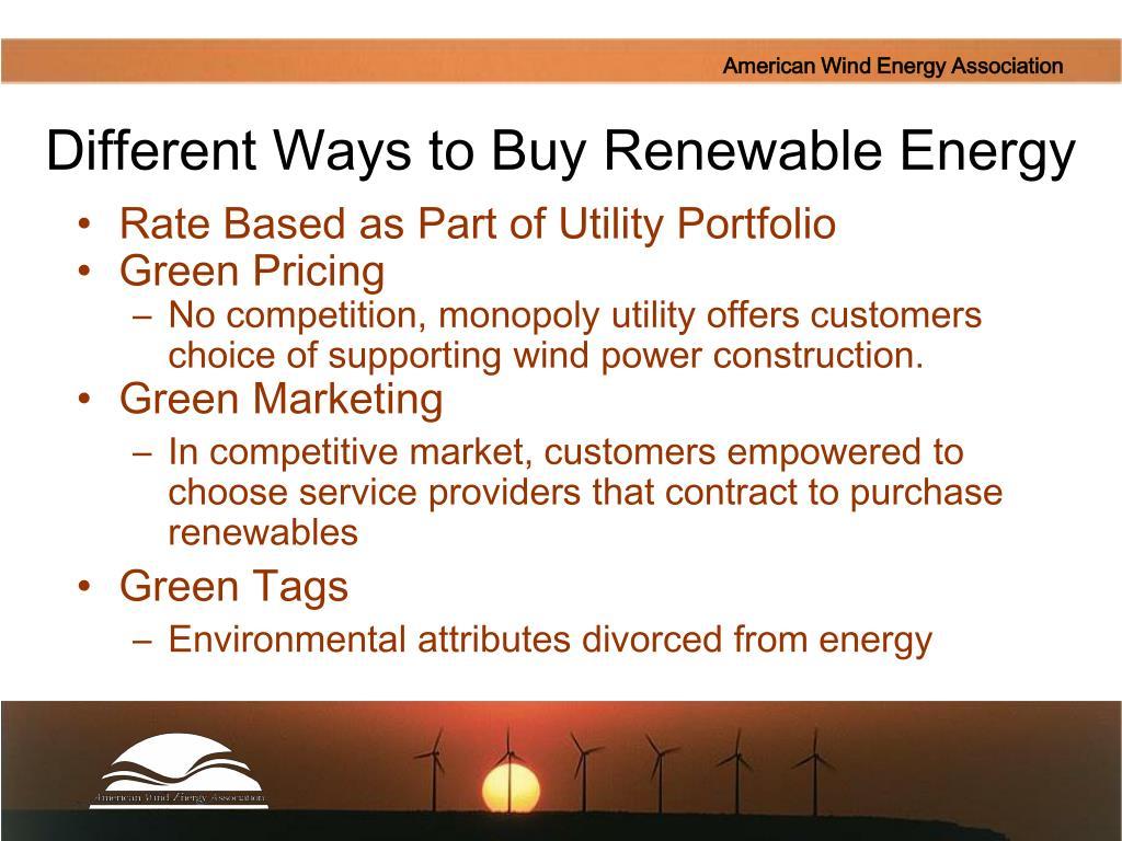 Different Ways to Buy Renewable Energy