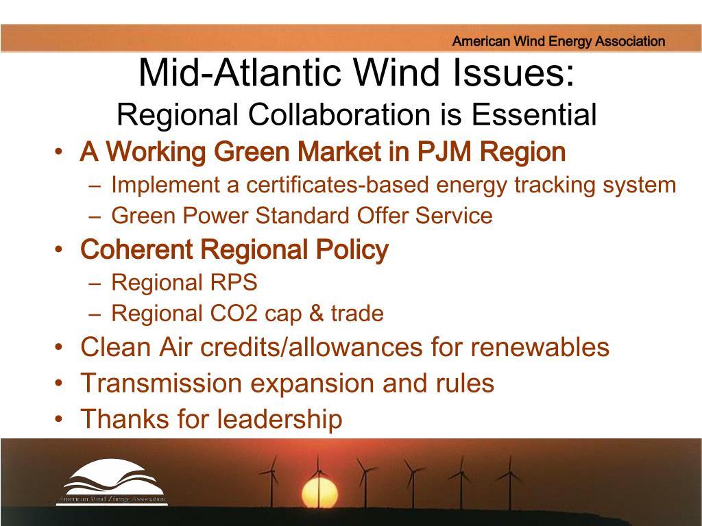 Mid-Atlantic Wind Issues: