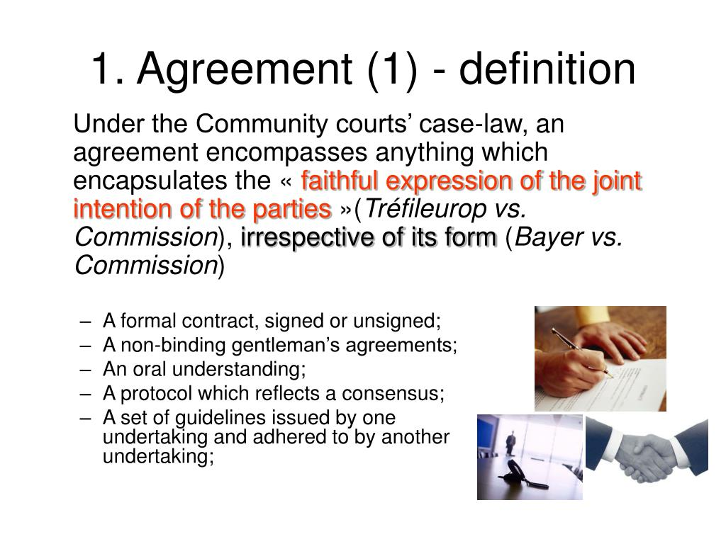 A formal contract, signed or unsigned;