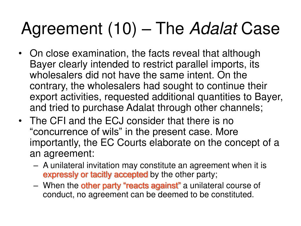 Agreement (10) – The