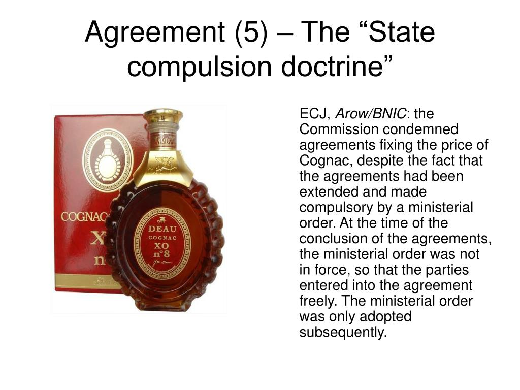 """Agreement (5) – The """"State compulsion doctrine"""""""