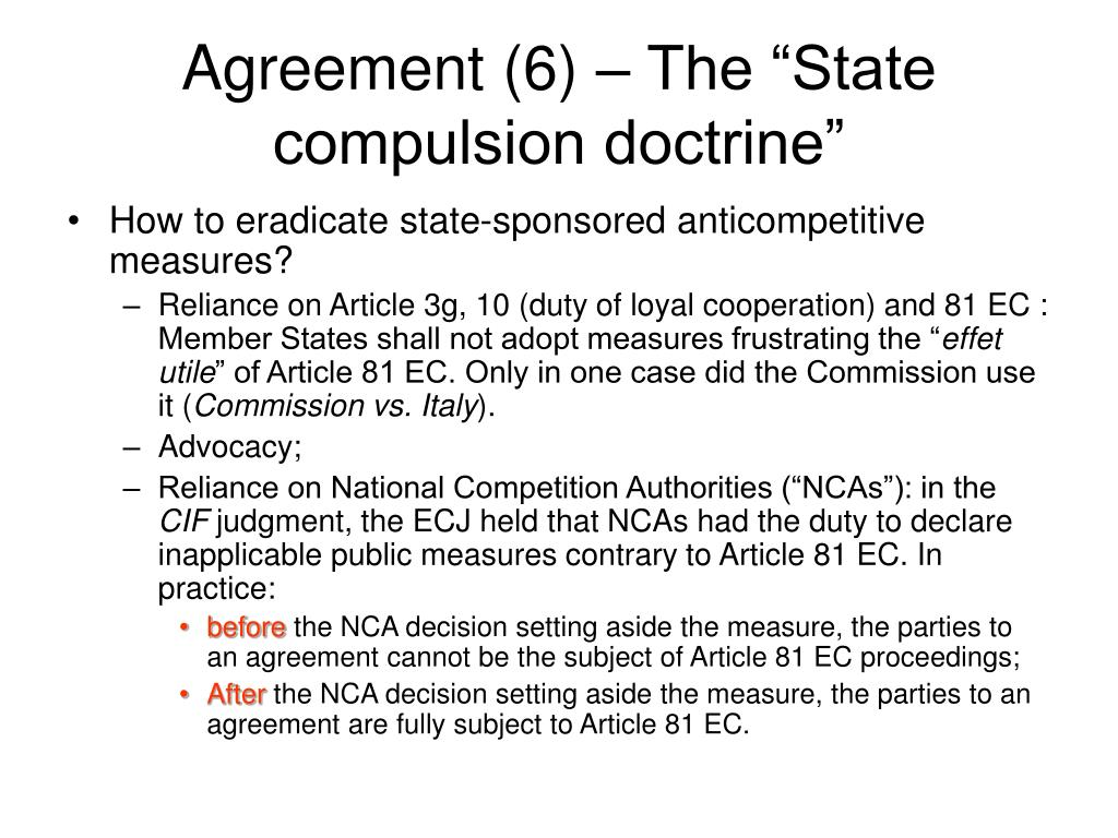 """Agreement (6) – The """"State compulsion doctrine"""""""