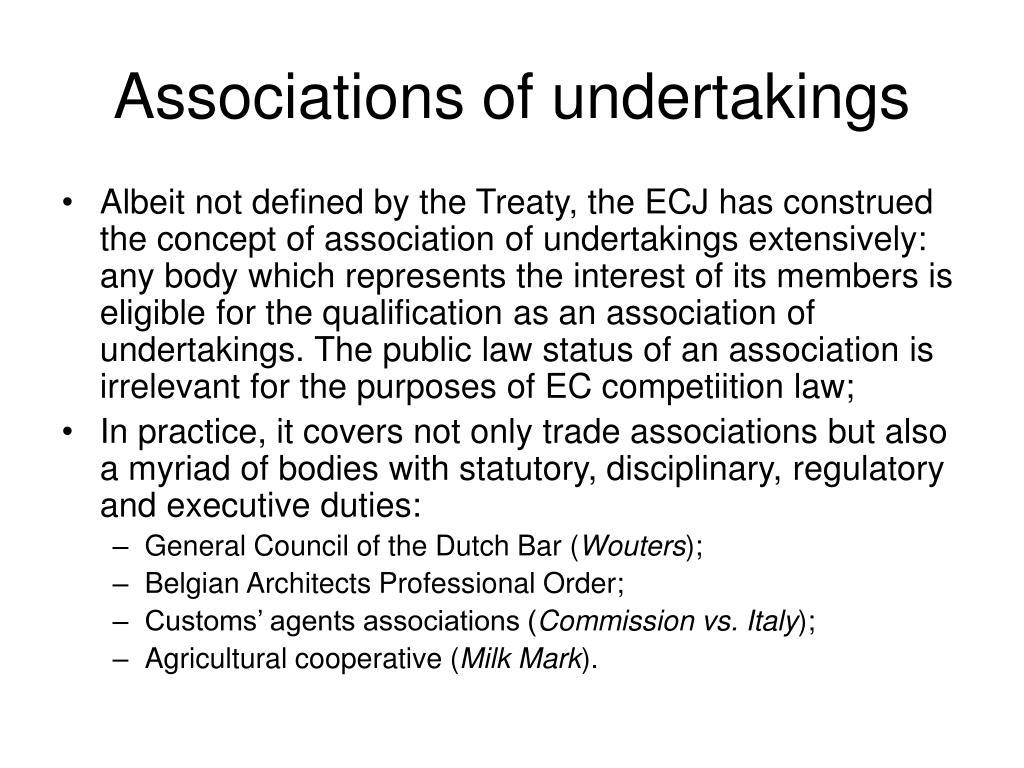 Associations of undertakings