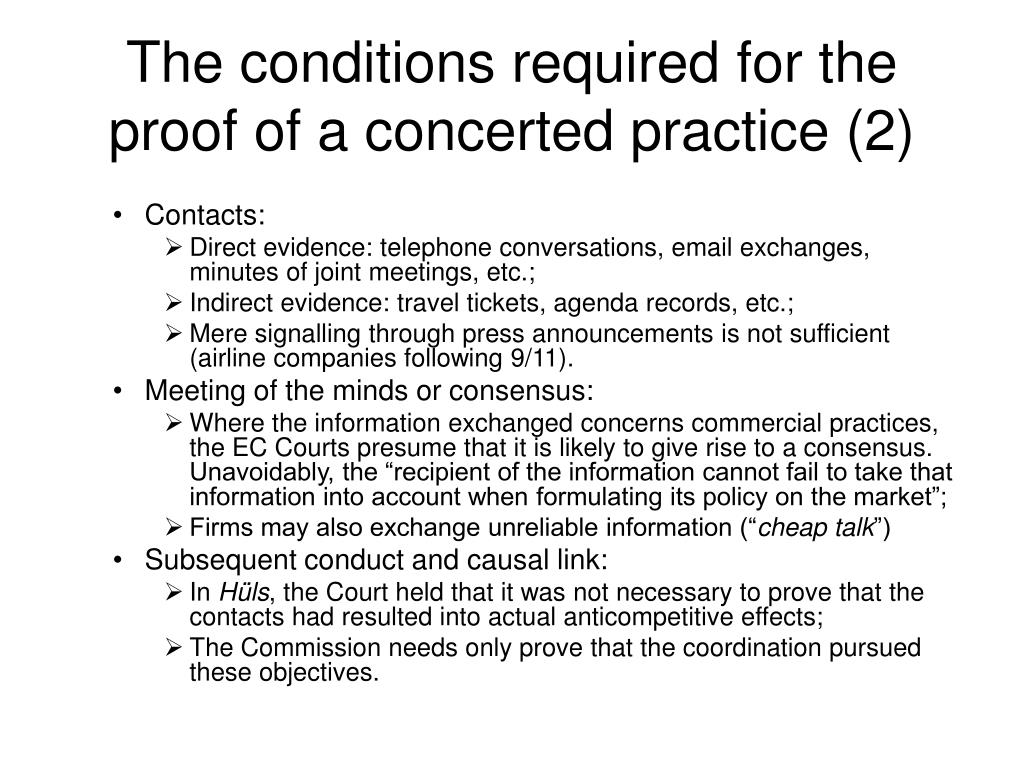 The conditions required for the proof of a concerted practice (2)
